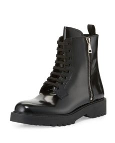 prada leather combat boots lyst prada polished leather combat boot in black