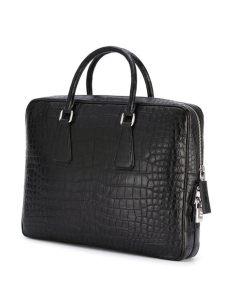prada computer bag prada embossed laptop bag in black for lyst