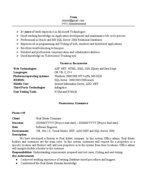 net experience resume sle library computing microsoft visual