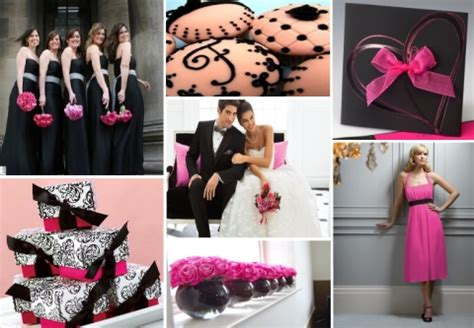 inspiration board fuchsia black wedding theme