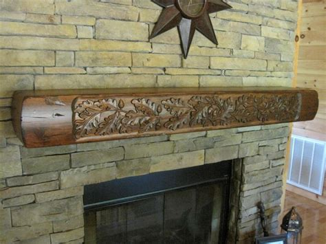 rustic fireplace mantel carved oak leaves