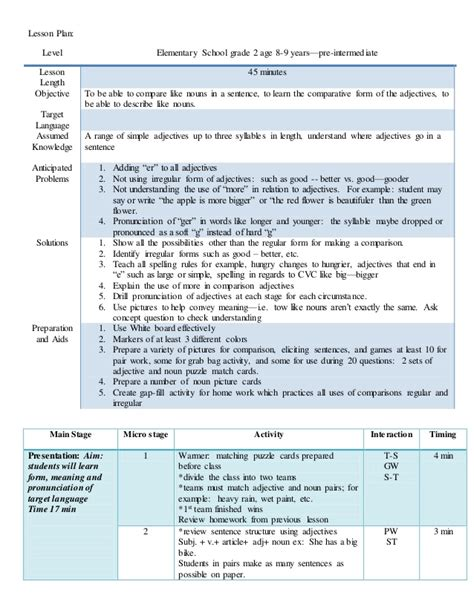 lesson plan adjectives