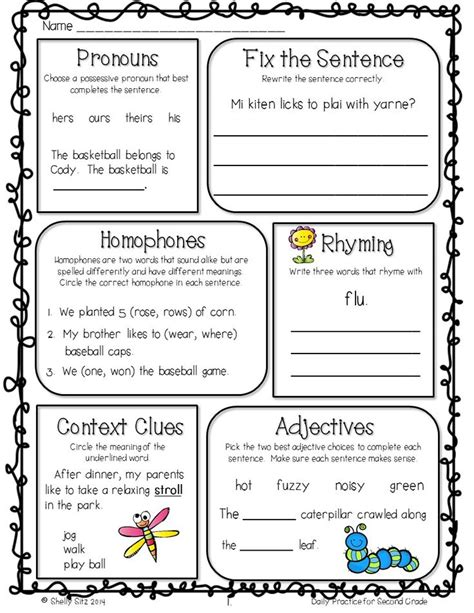 grammar review 2nd grade free morning work graphic