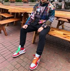 off white jordan 1 red outfit supreme patchwork anorak air 1 white with images boho fashion fashion