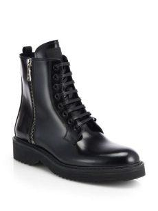 prada leather combat boots prada patent leather laceup combat boots in black nero black lyst