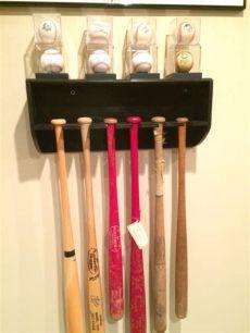 homemade baseball bat rack bat rack with baseball display shelf front view diy baseball bat holder with