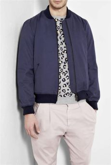apc madras navy plaid lined teddy bomber jacket in blue for navy lyst - Apc Bomber Jacket Womens