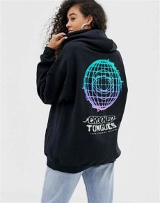 crooked tongues hoodie oversize 224 imprim 233 phosphorescent noir asos - Crooked Tongues Hoodie Oversize A Imprime Phosphorescent Noir