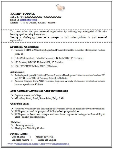 100 resume format experienced sle template fresher mba