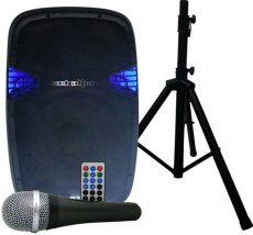 microfono con bocina steren bocina lificada 15 con pedestal y microfono bluetooth 2 640 00 en mercado libre