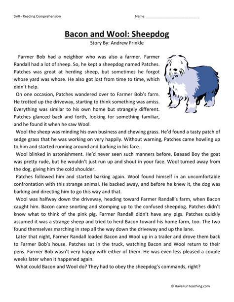reading comprehension worksheet bacon wool sheepdog
