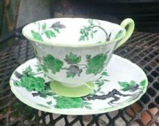 foosites black and green shelley ovington bone china footed cup saucer green black floral ebay