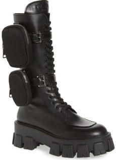 prada combat boots kendall jenner rocks prada s monolith mini bag knee high boots