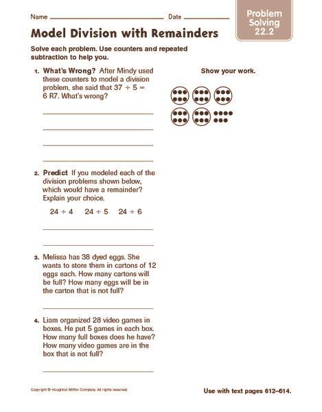 model division remainders problem solving worksheet 4th 5th