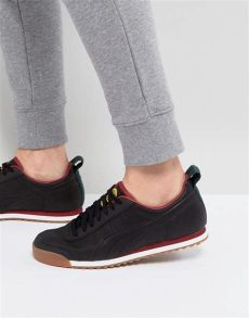 x daily paper roma leather trainers black 36455202 asos - Puma Daily Paper Roma