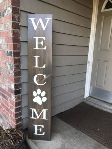 porch board welcome welcome with paw print porch board porch decor animal lover sign pet decor