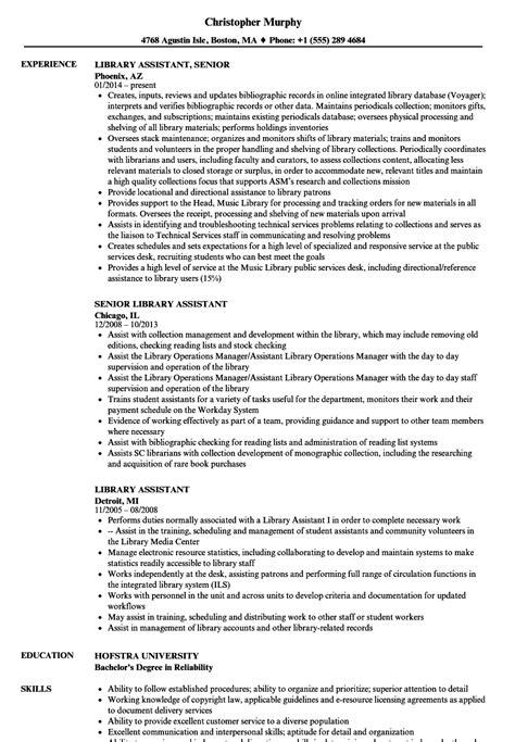 library assistant resume sles velvet jobs