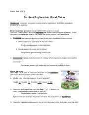food chain gizmoscx date student exploration food chain