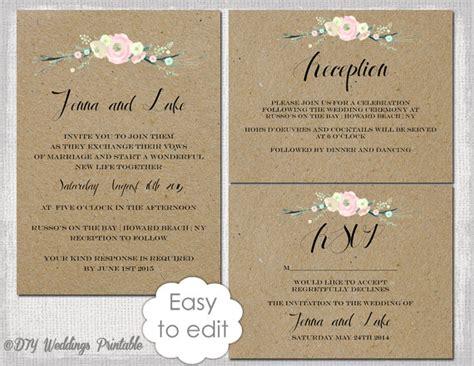 rustic wedding invitation templates suite diy rustic flowers