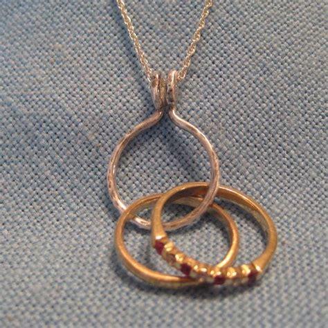 engagement ring holder necklace 14k gold wedding pendant