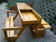 diy collapsible picnic table diy pallet folding bench storage space 101 pallets