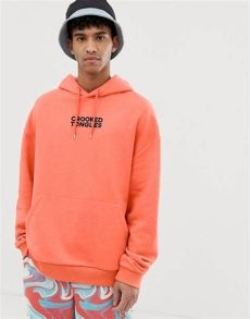 crooked tongues crooked tongues oversized hoodie with logo in orange asos