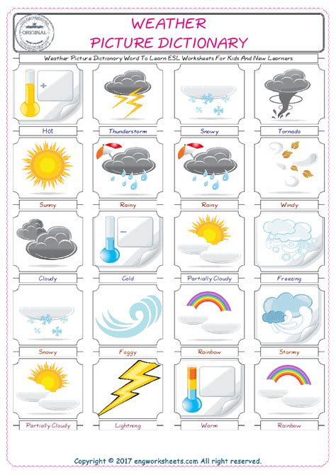 weather esl printable english vocabulary worksheets