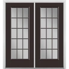 masonite 72 in x 80 in willow wood fiberglass prehung right inswing 15 lite clear glass - French Door Glass Inserts Home Depot