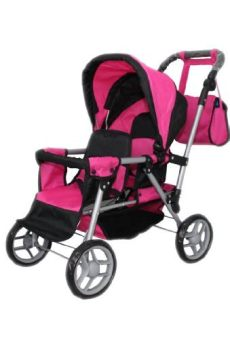 mommy and me double doll stroller and me doll pram back to back adjustable handle with free carriage bag 9386 baby