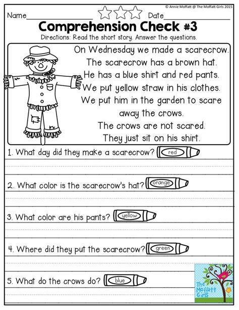 reading comprehension checks october prep reading comprehension worksheets