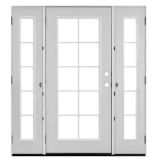 french door glass inserts home depot masonite 72 in x 80 in primed white steel prehung right inswing 10 lite clear glass patio