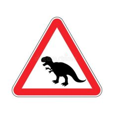 attention meme dinosaur attention dinosaur dangers of yellow road sign prehistoric predator caution tyrannosaurus t