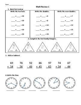 2nd grade math review worksheets toty washington tpt