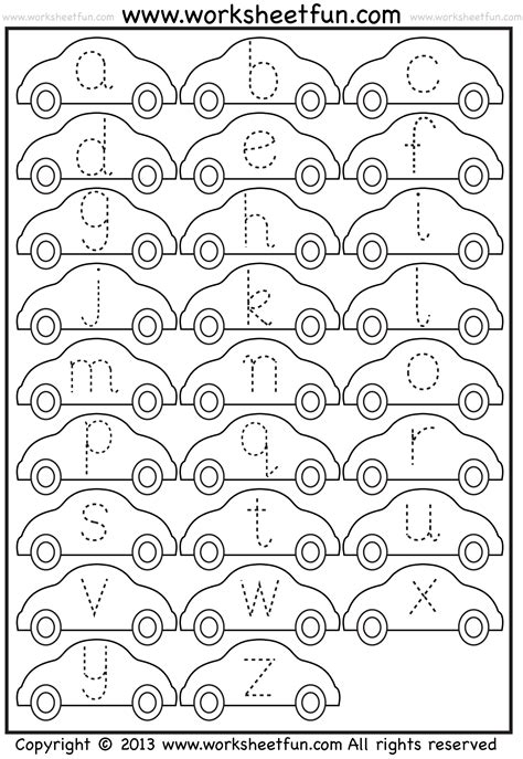 small letter tracing lowercase worksheet car free printable