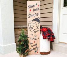 porch board christmas vintage santa porch 12x48 board and brush