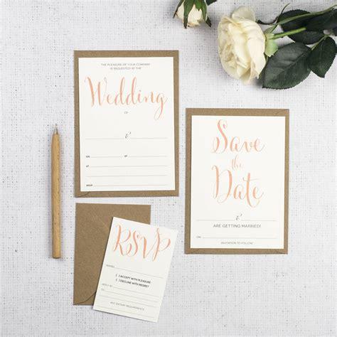 calligraphy script diy wedding invitation set russet gray