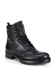 prada laceup leather combat boots in black for lyst - Prada Combat Boots Mens