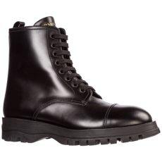 prada leather combat boots prada s leather combat boots in nero black lyst