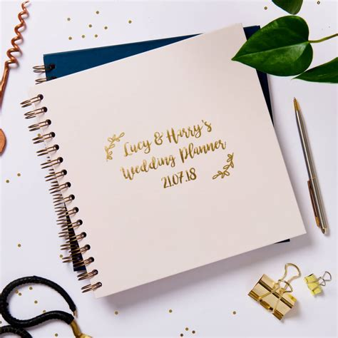 personalised gold foil ringbound wedding planner posh totty
