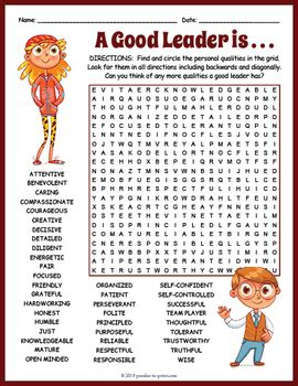 leadership word search worksheet puzzles print tpt
