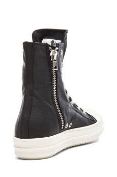 lyst drkshdw by rick owens coated canvas ramones sneakers in black - Rick Owens Ramones Canvas