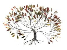 metal wall large metallic autumn leaves tree - Metal Wall Art Uk Trees