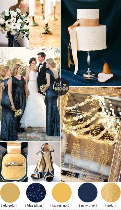 gold navy blue wedding color palette classic winter