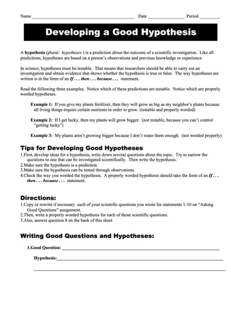 developing good hypothesis science worksheet printable download