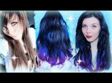 blaue directions auf braune haare directions auf braunem haar blau lila dip dye