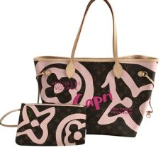 louis vuitton capri neverfull louis vuitton neverfull limited edition mm pink canvas leather tote tradesy