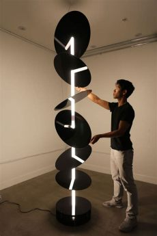 chion beams mismatch quot beam quot by jimmy chion 2016 kinetic sculpture that plays with the direction of a single line of