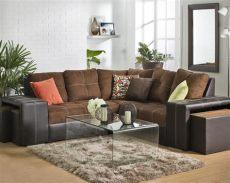 ver muebles de coppel sala esquinera contempor 225 nea en vinil y suede 4060153 coppel