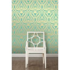 teal shimmer wallpaper i wallpaper shimmer damask metallic designer wallpaper rich teal gold ebay