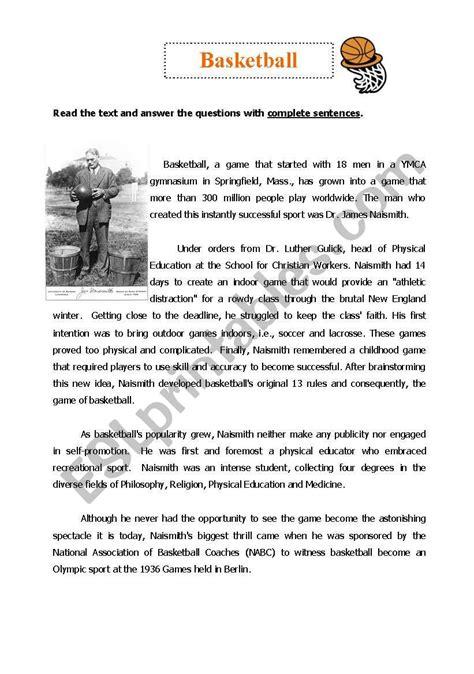 basketball reading comprehension esl worksheet babz